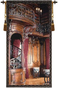 Woven in North America History: Library tapestry is from a painting/artwork of Biltmore Estate. This charming tapestry features the inside of an elaborate library with dark wood as far as the eye can