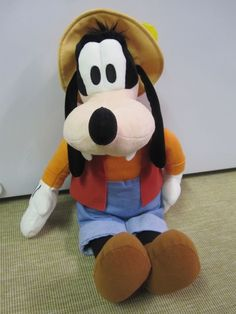 Goofy Gone Fishing Plush Disney Parks Lovey Stuffed Animal 20 Inches Tall Rare #Disney