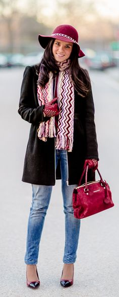 DIY Sombrero con cadena Crimenes de la Moda - do it yourself custom chain hat - Burgundy - abrigo Zara coat - bufanda Missoni scarf - zapatos Mango shoes - bolso Karen Millen bag
