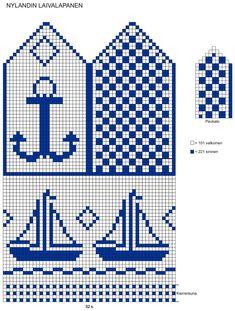 Neulo hauskat Nylandin laivalapaset   ET Knitted Mittens Pattern, Fair Isle Knitting Patterns, Knitting Charts, Knit Mittens, Crochet Patterns, Wiggly Crochet, Pixel Crochet, Summer Knitting, Tapestry Crochet