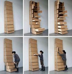 Charmant Space Saving Staircase Shelves For Floor To Ceiling Storage Designed By  Danny Kuo