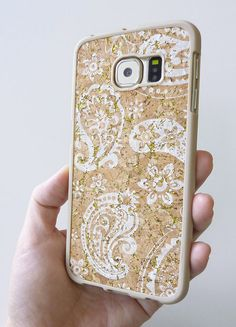 Boho Trendy Fall Winter Cool style phone case DIY For Samsung Galaxy S6 Edge White Paisley Floral Flower cellular mobile cover handmade by Yunikuna