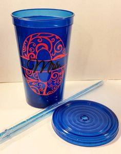 Personalized Tumbler Monogram cup with straw by VineandWhimsy