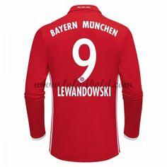 Billige Fodboldtrøjer Bayern Munich 2016-17 Lewandowski 9 Langærmet Hjemmebanetrøje