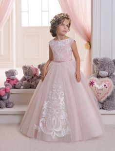 2016 Blush Pink Lace Tulle Flower Girl Dress Wedding Party Holiday Bridesmaid Birthday Blush Pink Flower Girl Tulle Lace Dress Discount Flower Girl Dresses Dress For Little Girl From Liuliu8899, $89.01| Dhgate.Com