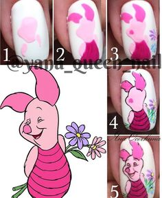 Nail art Christmas - the festive spirit on the nails. Over 70 creative ideas and tutorials - My Nails Pig Nail Art, Pig Nails, Animal Nail Art, Nail Art Diy, Cartoon Nail Designs, Nail Art Designs, Nail Art Modele, Nail Drawing, Painted Nail Art