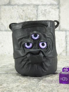 Leather Dice Marble Bag Fairy Pouch With Face RPG Drawstring Black Rune Bag Gamer Gift Accessory
