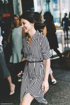 New_York_Fashion_Week-Spring_Summer-2016-Street-Style-Maria_Dueñas_Jacobs-Striped_Shirt_Dress-