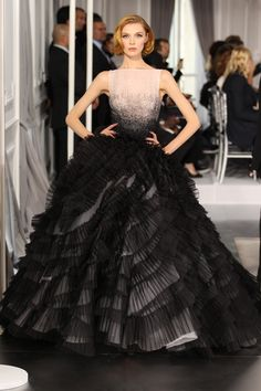 Dior Haute Couture Spring Summer 2012 – Look 35: Embroidered black silk dress. Discover more on www.dior.com