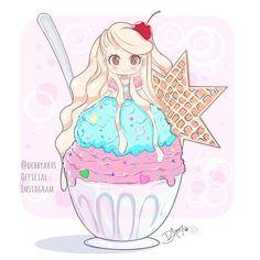 Online in a few hour.. new Chibi Food!! #icecream !!!✨ Enjoy! ~ original by me @debbyarts  #painting #kawaii #art #drawing #digitalart  #anime #chibi #debbyarts