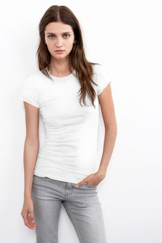Jemma Gauzy Whisper Crew Neck Tee, Velvet by Graham & Spencer.