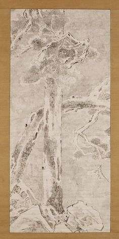 Yi In-sang(李麟祥, 1710-60), 설송도雪松圖 Painting of Pine Trees in Snow, Joseon 18c, 117.3×52.6cm (Hanging scroll painting), National Museum of Korea.