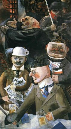 George Grosz (1893 –1959) was a German artist known especially for his caricatured drawings of Berlin life in the 1920s | The Pillars of Society (1926)