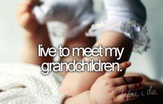 Live to meet my grandchildren. Bucket list