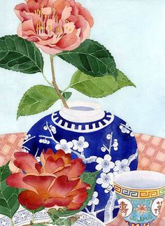 watercolor and pencil | ginger jar with peonies | Gabby Malpas