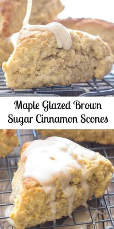 Maple Glazed Brown Sugar Cinnamon Scones, the best and so easy Scone recipe. Perfect for snack or breakfast. Maple Glazed Brown Sugar Cinnamon Scones, the best and so easy Scone recipe. Perfect for snack or breakfast. Köstliche Desserts, Delicious Desserts, Yummy Food, Maple Dessert Recipes, Challah, Bagels, Baking Recipes, The Best, Favorite Recipes