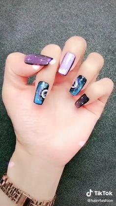 Nail Art Designs Videos, Nail Design Video, Nail Art Videos, Simple Nail Art Designs, Cute Nail Designs, Fingernail Designs, Nail Art Tutorials, Solar Nail Designs, Chrome Nails Designs