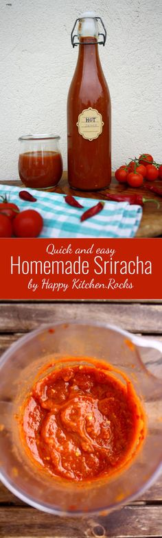 Quick and easy Homemade Sriracha sauce, perfect for any kind of grilled meat or seafood, burgers, eggs, noodles, fried rice and as a dipping sauce.