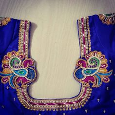 Mothi works's media statistics and analytics Peacock Blouse Designs, Peacock Embroidery Designs, Cutwork Blouse Designs, Best Blouse Designs, Peacock Design, Blouse Neck Designs, Girls Dresses Sewing, Aari Work Blouse, Maggam Works