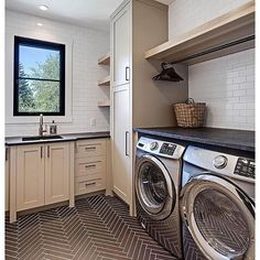 A fabulous laundry room with a fabulous floor. Design by the talented @verandainterior. | @scoutandnimble instagram