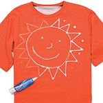 For Field Day shirts...ask kids to bring in an old, solid-colored shirt that they wouldn't mind messing up...FUN!