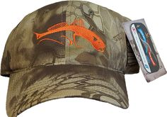 Kryptek Camo Highlander Hat with Bright Orange Redfish!!!!