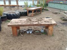 The Mud Table forms a sturdy and stable place to gather round and cook up some tasty mud-pies, grass cakes and sand soup.