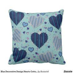 Blue Decorative Design Hearts Cotton Throw Pillow