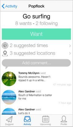 Popflock · Plan things with friends  iOS app