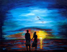 Couple Painting Couple Beach Ocean Sunset by LeslieAllenFineArt, $110.00