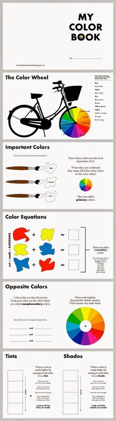 Relentlessly Fun, Deceptively Educational: Color Theory for Kids {free printable color book} - worksheet style for sketch pads Middle School Art, Art School, Classe D'art, Art Handouts, Art Worksheets, Art Curriculum, School Art Projects, Art Lessons Elementary, Art Graphique