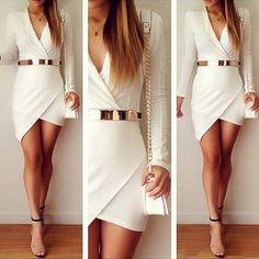 White Plain Irregular Pleated V-neck Long Sleeve Dress