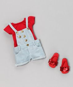 My Salon Doll: The ONLY doll with REAL HAIR!  There's no better way to compliment a great hairdo than with a cute outfit.  This one is great for summer with a red t-shirt, light blue denim overalls, and red sequined sandals.  How cute is that!?