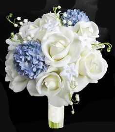 RTG Natural Touch Off-White Roses & Specialty Blue Hydrangea Bouquet - great option for my bridal bouquet!