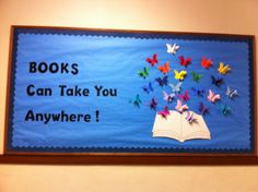 Library Bulletin Board: different caption- science theme? Christmas Bulletin Boards, Reading Bulletin Boards, Spring Bulletin Boards, Classroom Bulletin Boards, Preschool Bulletin, Library Themes, Library Book Displays, Library Ideas, Reading Display