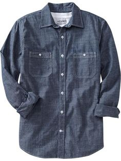 @oldnavy #oldnavy Mens #chambray button up shop now till midnight at save 25% OFF with code SAVEMORE