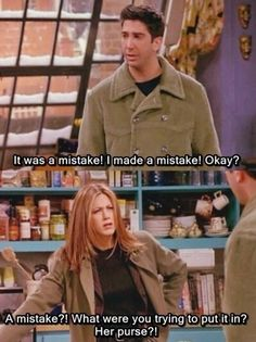 Were you trying to put it in her purse? #Friends #Rachel #Ross