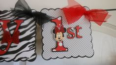Minnie Mouse Zebra Birthday/Name Banner. $42.50, via Etsy.
