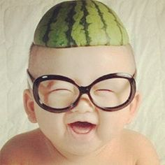 baby photography with sweet smile, big glasses