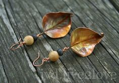 wide leaf earrings in natural clay and copper by fromNothing, $26.00