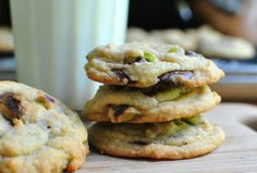 Dark Chocolate Chip and Pistachio Cookies (I'd probably use milk chocolate chips but the pistachio part sounds awesome!)