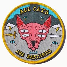 Patch Thread sur Instagram : ALL CATS ARE BASTARDS patch. ...from the pussy-teasing bacon-loving apocalypse-dudes at @captainmustacheclothing. One of their first patches, help these boys out and visit their store. #ACAB #allcatsarebastards #turbojugend #hairlesscat #captainmustache #patch #patchthread