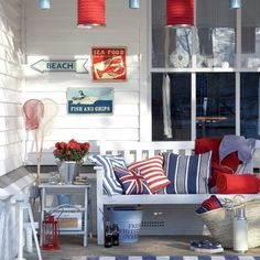 Porch, outdoor living, coastal, nautical, cottage, shabby chic, red, white, blue