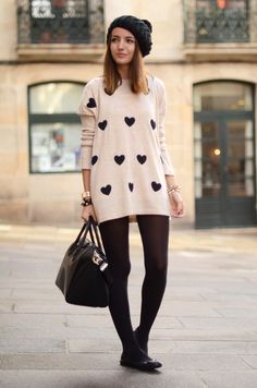 Beanie + big sweater + tights