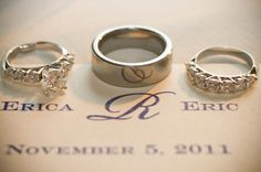 Wedding rings photo with names and date.