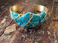 LUX Turquoise Gemstone Cuff by luxdivine on Etsy, $55.00