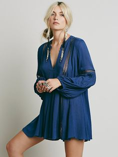 Free People Babydoll Lace Inset Swing Tunic at Free People Clothing Boutique