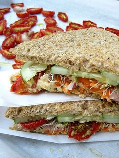 Slow-roasted Tomato, Cucumber, and Hummus Sandwich