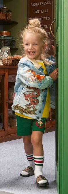 77484a46bd3987 GUCCI Kids Dragon Print Denim Jacket   Green Bee Shorts for Spring Summer  2018. Super
