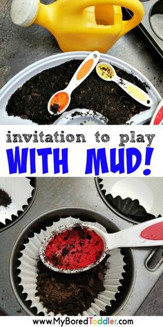 and a great outdoor play ideas for toddlers and preschool. A fun nature play toddler activity and a great sensory bin idea A fun invitation to play with mud - perfect for Outdoor Activities For Toddlers, Nature Activities, Sensory Activities, Infant Activities, Summer Activities, Indoor Activities, Family Activities, Garden Ideas For Toddlers, Learning Activities